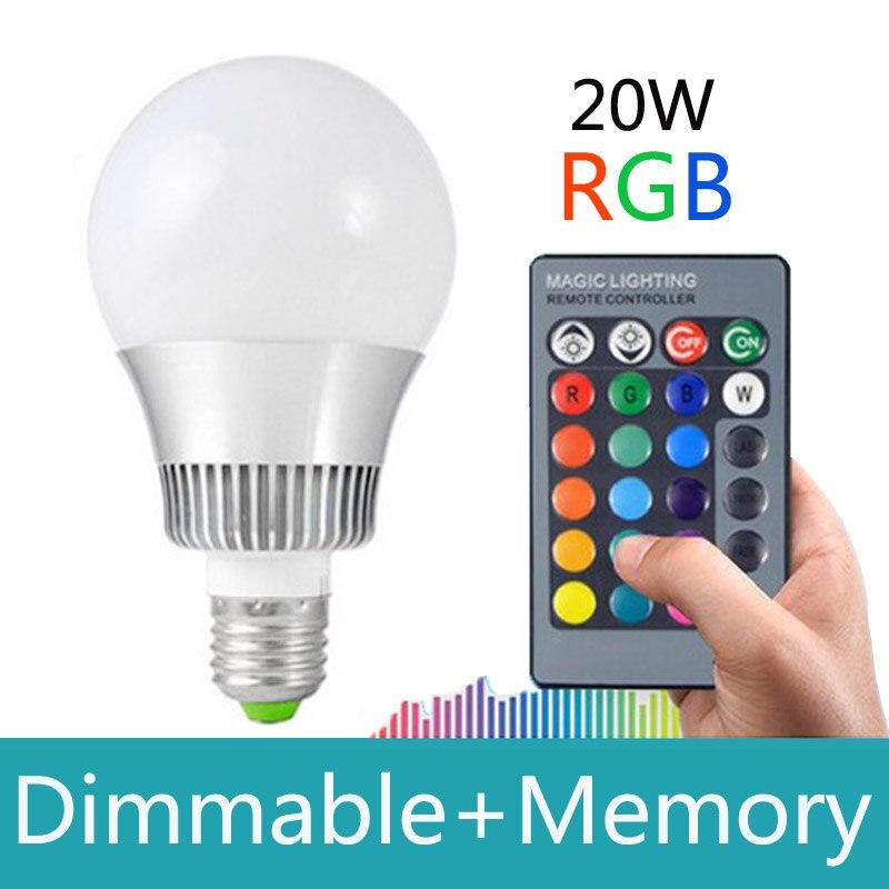 E27 RGB LED 20w 16 colors rgb led bulb E14 Dimmable Lampada led 110 220v led