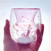2019 New Red Cherry Blossom Cup Cat's Claw Double Layer Glass Cup Crystal Coffee Mug Anti scalding Teacup Pink Cute Princess Cup