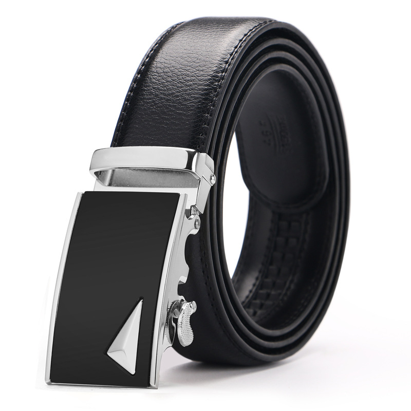 36bd843a7 Plyesxale Genuine Leather Belt Men Luxury Silver Gold Automatic ...