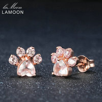 LAMOON 100 Natural Gemstone Rose Quartz Earring 925 Sterling Silver Bearfoot Rose Gold Color Stud Earring