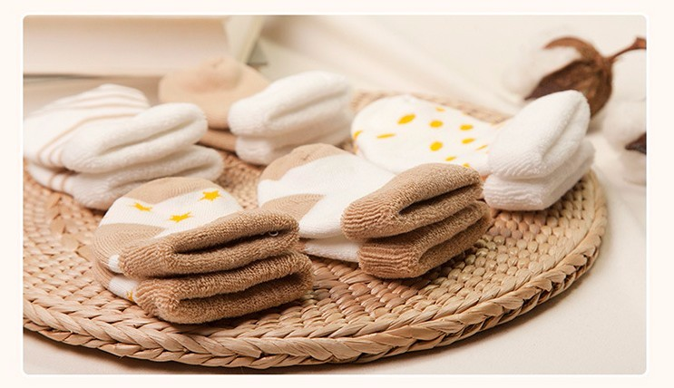 Warm Cotton Socks for Newborn, 5 Pairs Set