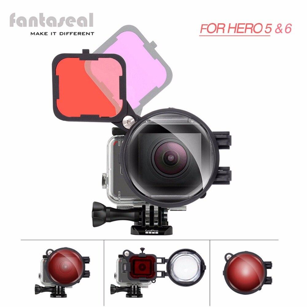 Fantaseal 3in1 для GoPro Hero 7 6 5 фильтр для подводной съемки, красный и пурпурный подводный коррекция цвета фильтр + 16X макрообъектив фильтр