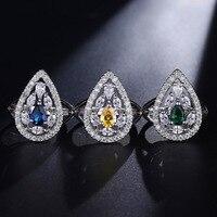 Nueva llegada en forma de pera anillo 3 colores Brasil joyas multicolor anillo de moda para las mujeres plata color con AAA ZIRCON Anillos anillos