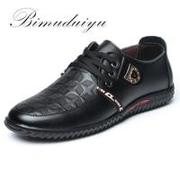 BIMUDUIYU Luxury Brand Hot Sale Breathable Soft Men Casual Leather Shoes Lace up Flat Black Shoes Zapatillas Deportivas Hombre