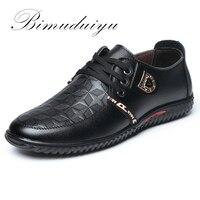 BIMUDUIYU Luxus Marke Heißer Verkauf Atmungsaktive Beiläufige Lederne Schuhe Lace-up Flache Schwarze Schuhe Zapatillas Deportivas Hombre