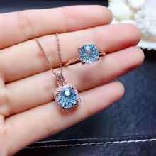 Necklace Jewelry-Set Pendant Silver-Ring Topaz 925 Natural Women Pure Meibapj for Sky-Blue