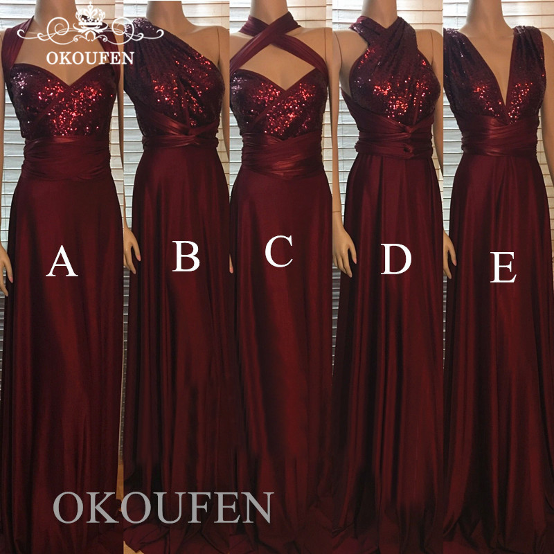 Bling Sequined Top Burgundy Bridesmaid Dresses Long Sleeveless Wholesale Price Wedding Guest Dress For Women