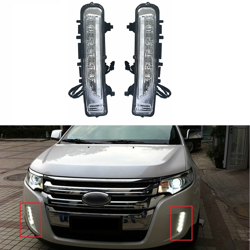 12V 2PCS LED Daytime Running Light DRL Fit For Edge 2009-2014 Car Accessories With Turning Signal Waterproof ABS Auto Fog Lamp 12v led car drl turning signal