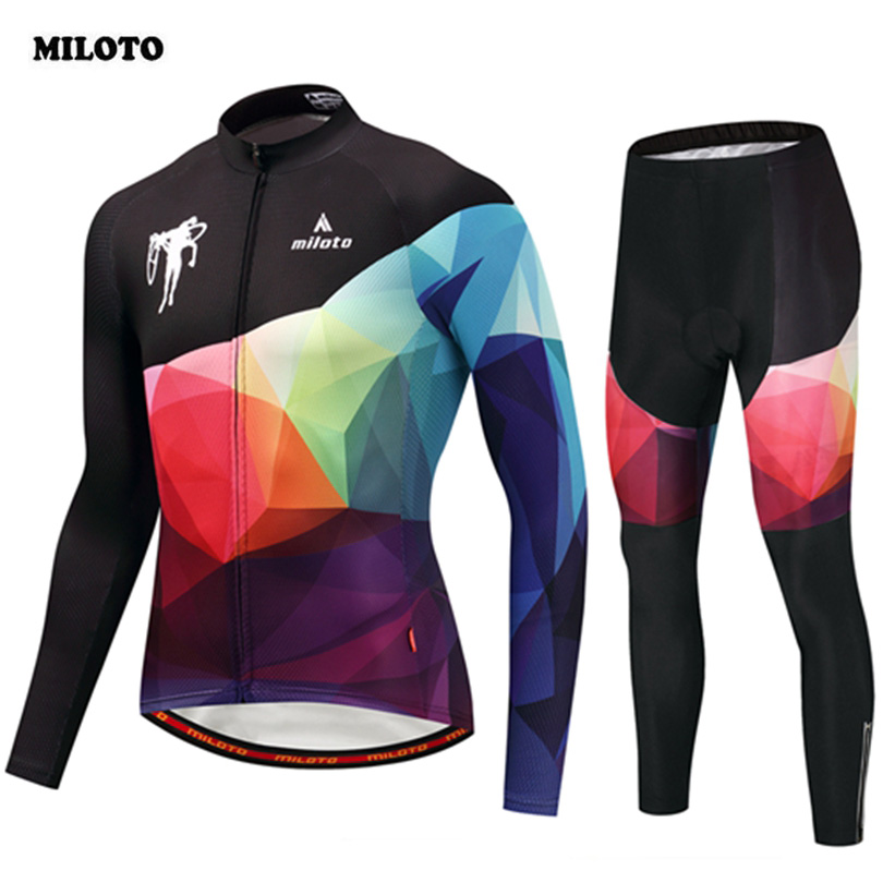 MILOTO Men Cycling Jersey Set Ropa Ciclismo Pro Team Long Sleeve Cycling Set 3D Padded Bib Pants MTB Road Bike Bicycle Cycling 3d silicone cube 2012 team long sleeve autumn bib cycling wear clothes bicycle bike riding cycling jerseys bib pants set