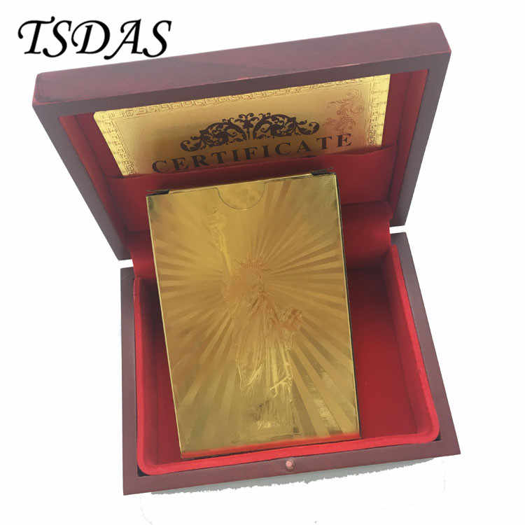 One Deck The Statue of Liberty Playing Cards Gold Plated In Red Box with Certificate Cards for Best Souvenirs