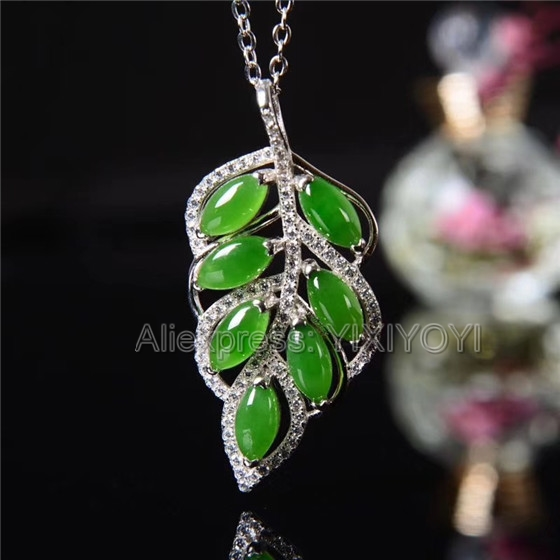 925 Sterling Silver Jasper Green HeTian Jade Beads Inlay Leaf Flower Design Lucky Pendant Chain Necklace