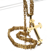 Granny Chic Jewelry Fashion Men Women 4mm Byzantine Chain Unisex Stainless Steel Cross Pendant Necklace Gift