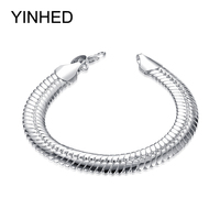YINHED 100 Original Jewelry S925 Stamp Solid Silver Bracelet New Trendy 925 Silver Snake Chain Bracelet