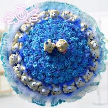 blue luxury roses Wedding Gift Flower Bouquet Valentine's Day Roses Bouquet Cartoon Bear Satin Ribbon Roses Party Decoration