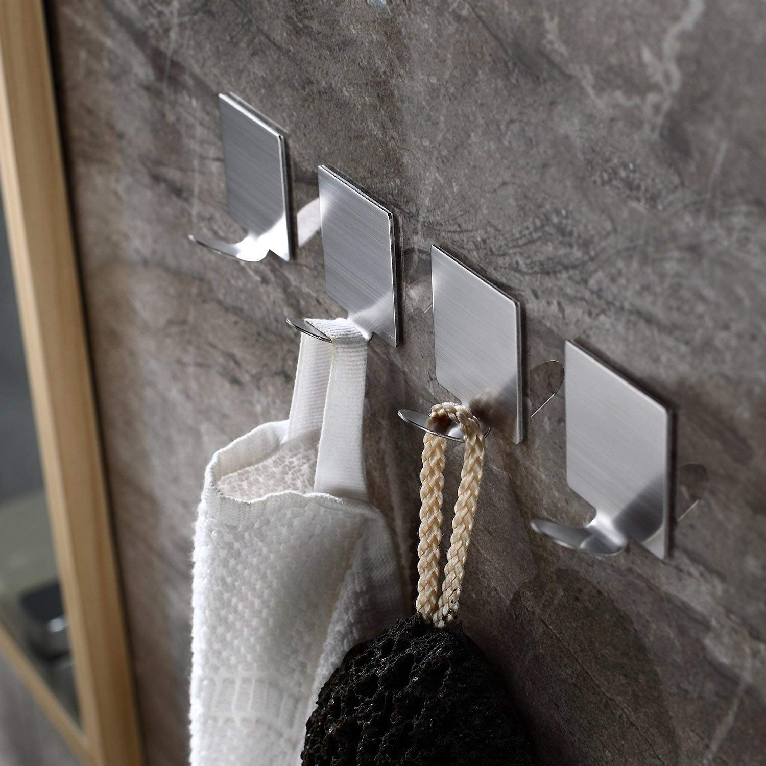 HTB1aNvaLXzqK1RjSZFvq6AB7VXa1 - 4pcs Brushed Stainless Steel Wall Hook Kitchen SelfAdhesive Hooks For Hanging Tools Suction Cup Coat Hanger Bathroom Accessories