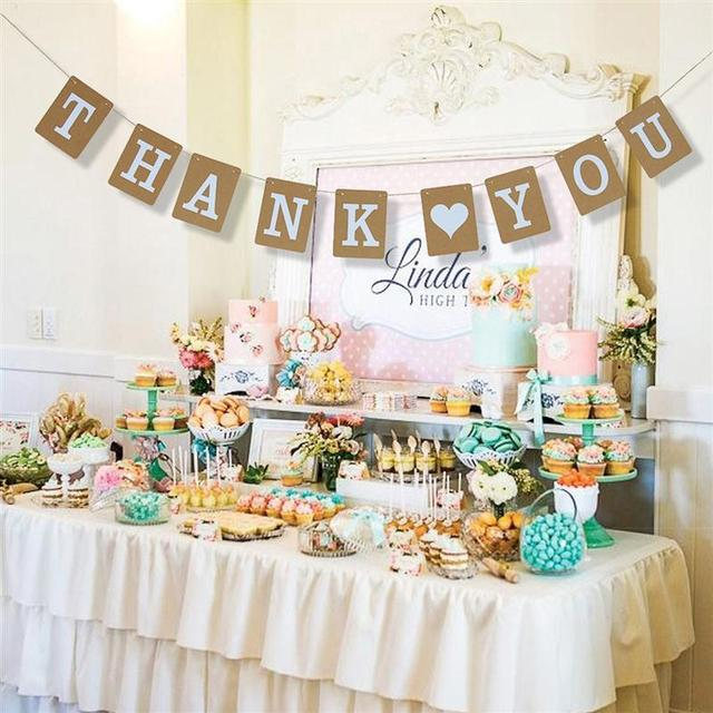 Thank You Banner Wedding Decoration Bridal Baby Shower Party
