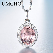 UMCHO Luxury Pink Sapphire Morganite Pendant For Women Real 925 Sterling Silver Necklaces Link Chain Jewelry Engagement Gift New