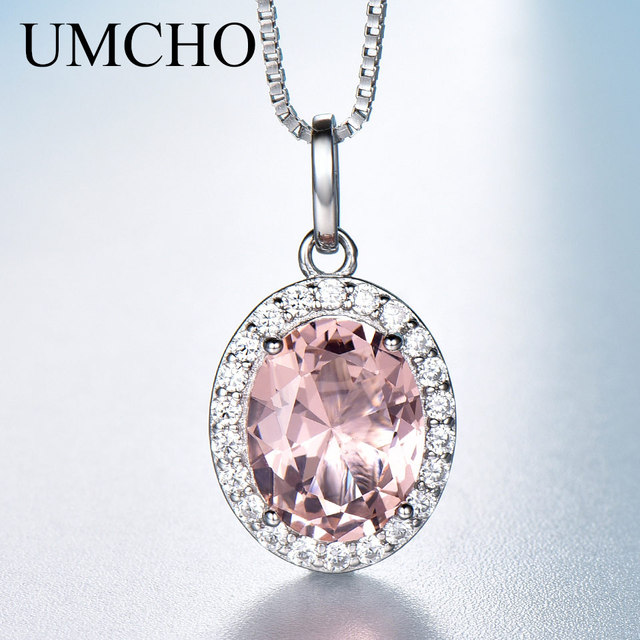 UMCHO Luxus Rosa Saphir Morganite Anhänger Für Frauen Echt 925 Sterling Silber Halsketten Link Kette Schmuck Engagement Geschenk Neue