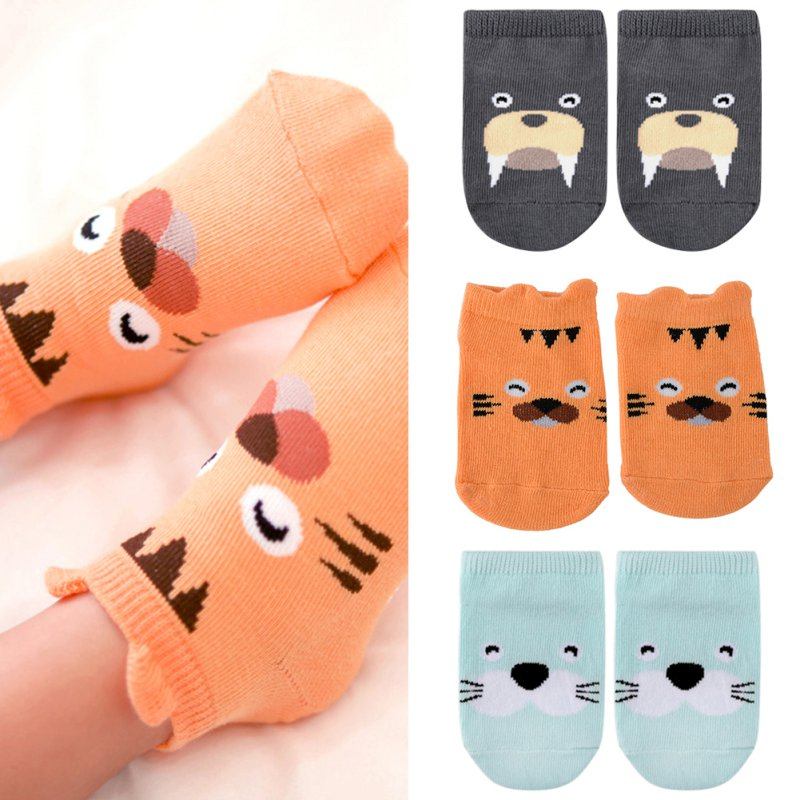 1-4Y Kids Baby Unisex Girl Boy Cotton Cartoon Animal Anti Slip Boots Ankle Socks