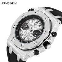 Kimsdun 군사 스포츠 남자 시계 montre homme 모든 subdials 작업 실리콘 밴드 쿼츠 시계 남자 럭셔리 방수 남성 시계