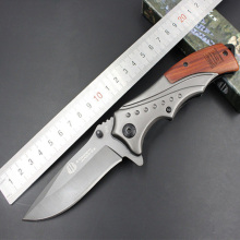 Browning folding knife 440C stainless steel blade handle steel handle + mahogany outdoor survival knife