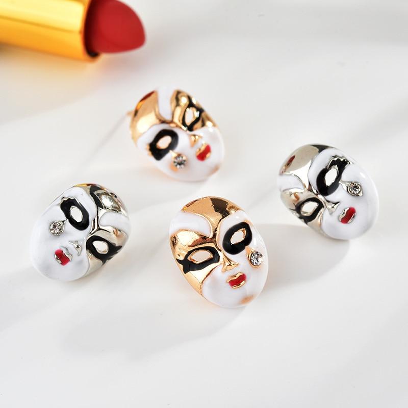 Trendy Cubic Zircon Tears Face Stud Earrings For Women Fashion Brand Classic Peking Opera Masks Earrings Party Gift Wholesale