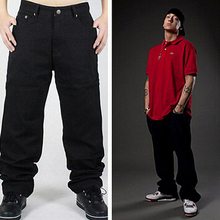 Хип-хоп джинсы мужчин 2016 новинка черные джинсы багги свободная посадка хип-хоп скейтбордист джинсы бесплатная доставка