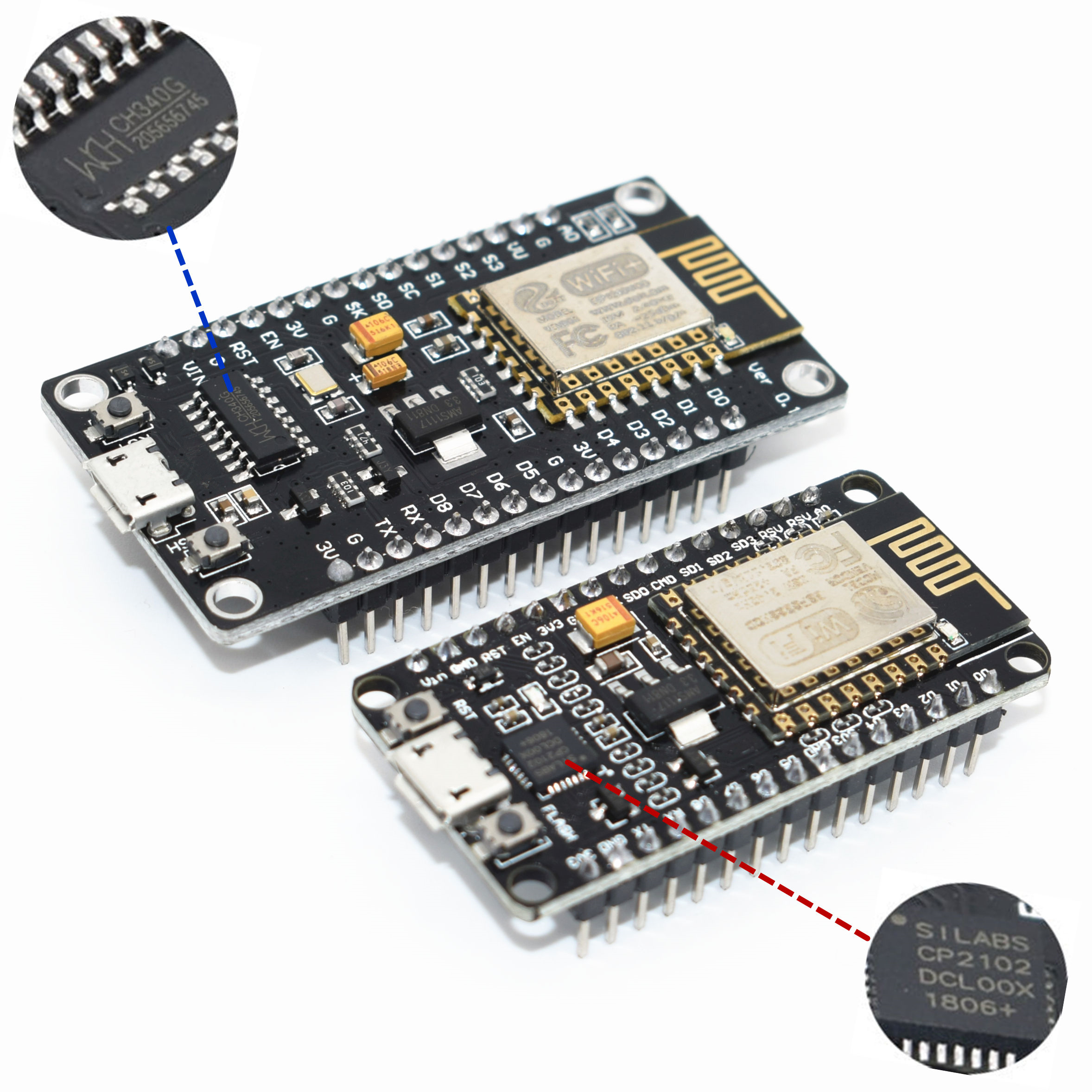 Wireless Module CH340/CP2102 NodeMcu V3 V2 Lua WIFI Internet Of Things Development Board Based ESP8266 ESP-12F With Pcb Antenna(China)