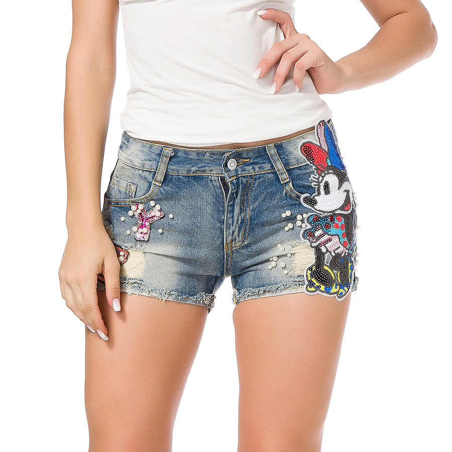 e02bc915f ... Summer 2018 Women Short Jeans Casual Embroidered Flare Denim Shorts  Fashion High Waisted Jeans Shorts Sexy ...