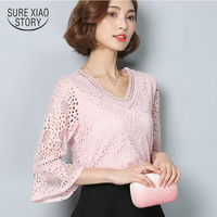 Plus Size Women Lace Blouse 2017 New Spring Pure Color Hollow Out Lace Shirt Lotus Leaf