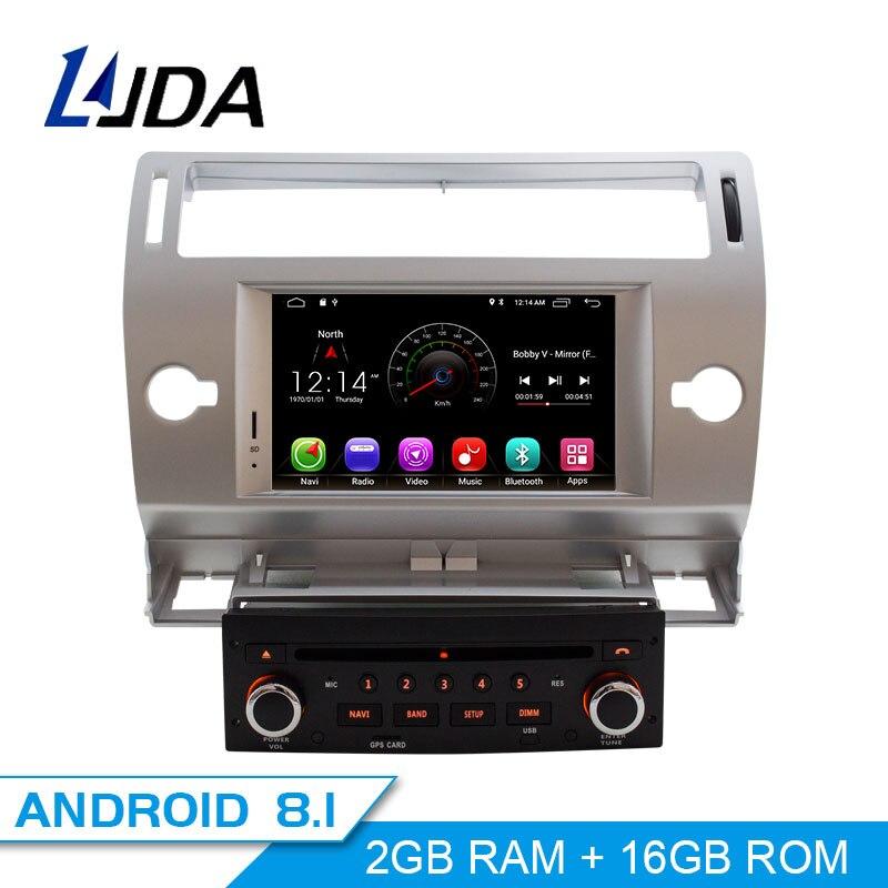 LJDA 1 Din 7 Pouces Android 8.1 lecteur dvd De Voiture Pour Citroen C4 Quatre Triomphe Wifi radio gps 2G RAM écran tactile radio gps WIFI Carte