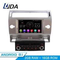 LJDA 1 Din 7 Inch Android 8.1 Car DVD Player For Citroen C4 Quatre Triumph Wifi GPS Radio 2G RAM Touch Screen GPS Radio WIFI Map