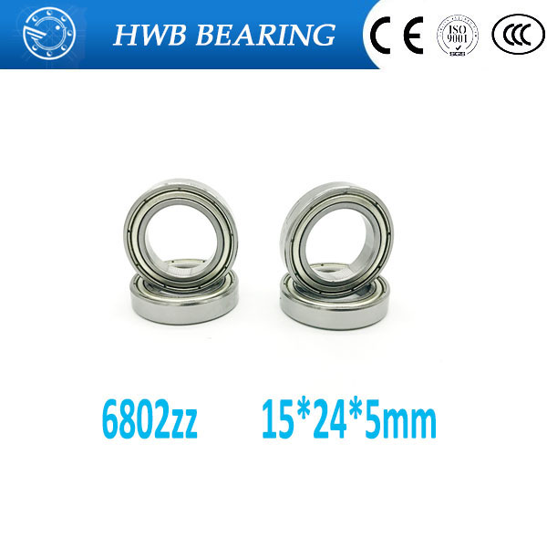 Free shipping 6802 ZZ (10PCS) 15x24x5MM Metric Thin Section Bearings 61802Z <font><b>6802ZZ</b></font> 61802 zz image