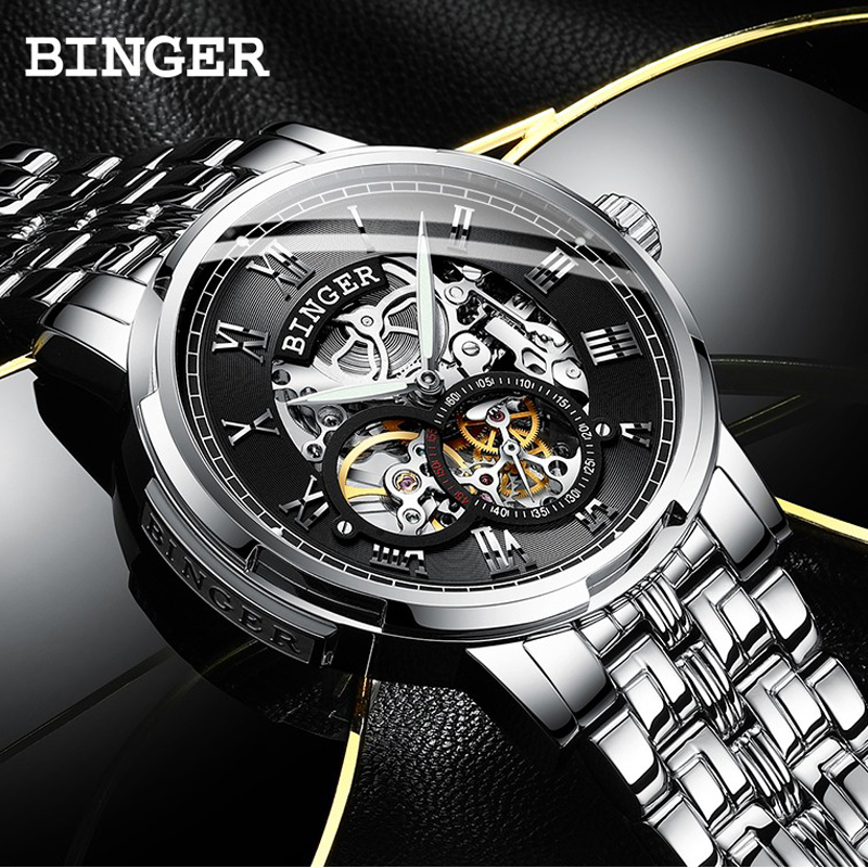 BINGER Automatic Self-Wind Mechanical Mens Watches Luxury Brand Carved Skeleton Dial Fashion Business Classic design small ClockBINGER Automatic Self-Wind Mechanical Mens Watches Luxury Brand Carved Skeleton Dial Fashion Business Classic design small Clock