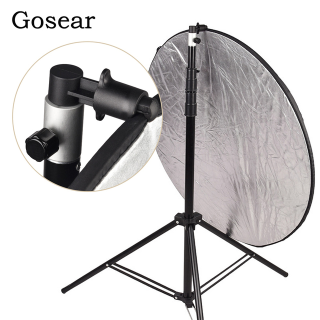 Gosear Aluminium Draagbare Foto Video Studio Fotografie Achtergrond Reflector Softbox Disc Houder Clip Voor Light Stand 55X73Mm