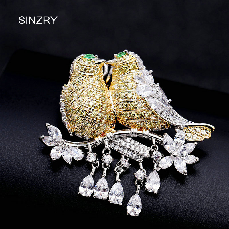 SINZRY elegant New Cubic zirconia micro paved love birds dressing brooch pin lady scarf buckle jewelry accessory sinzry elegant new 2018 cubic zirconia yellow daisy flower suit brooches pin lady scarf buckle jewelry accessory for women