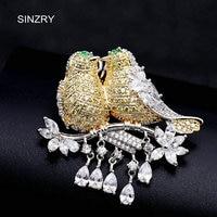 SINZRY Elegant New Cubic Zirconia Micro Paved Love Birds Dressing Brooch Pin Lady Scarf Buckle Jewelry