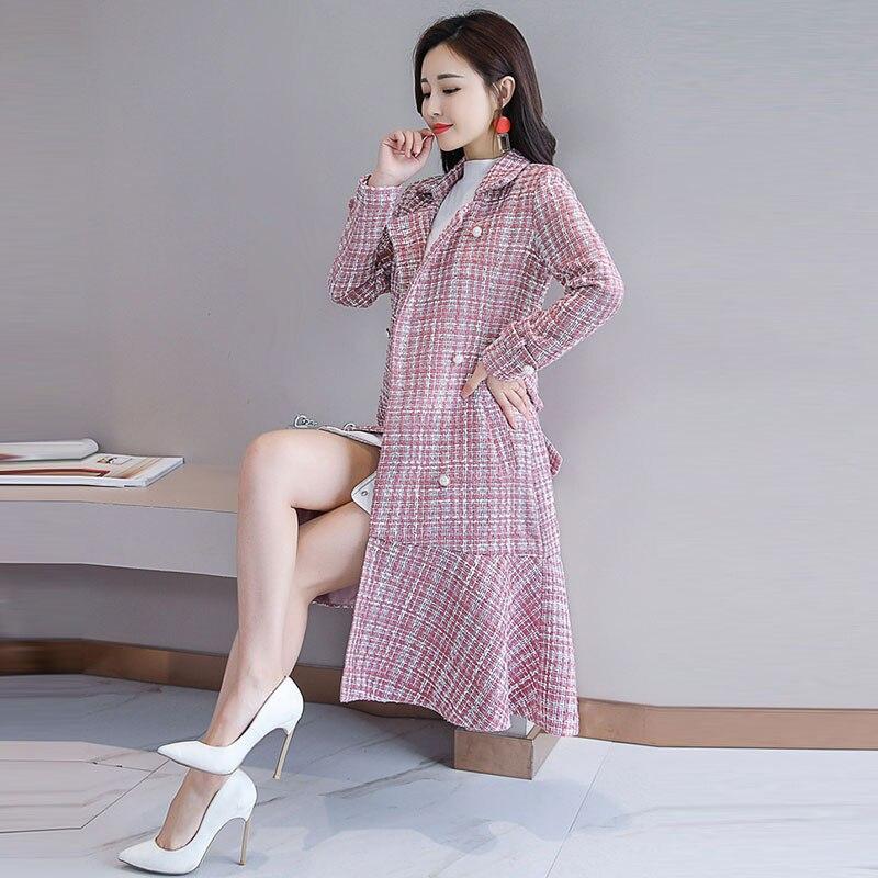 Mode Printemps Double Laine Lâche Femme Femmes Plaid De Femelle À Pink 28 Boutonnage 2019 Hiver Pardessus Long Nouveau Manteau Ourlet Mince ISYOxdwT8q