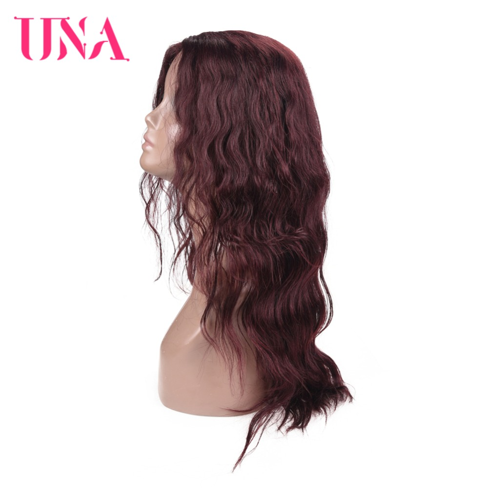 UNA Indian Human Hair High Density Wigs Non Remy Long Deep Wave Wigs Color 1 1B 2 4 27 30 33 99J BURG 350 2 33 in Part Lace Wigs from Hair Extensions Wigs