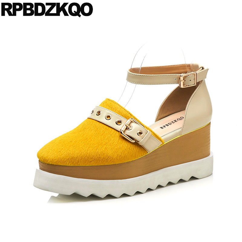 Large Size Yellow Ankle Strap Square Toe Sandals Creepers Platform Shoes Thick Sole Women Elevator High Quality Wedge Horsehair