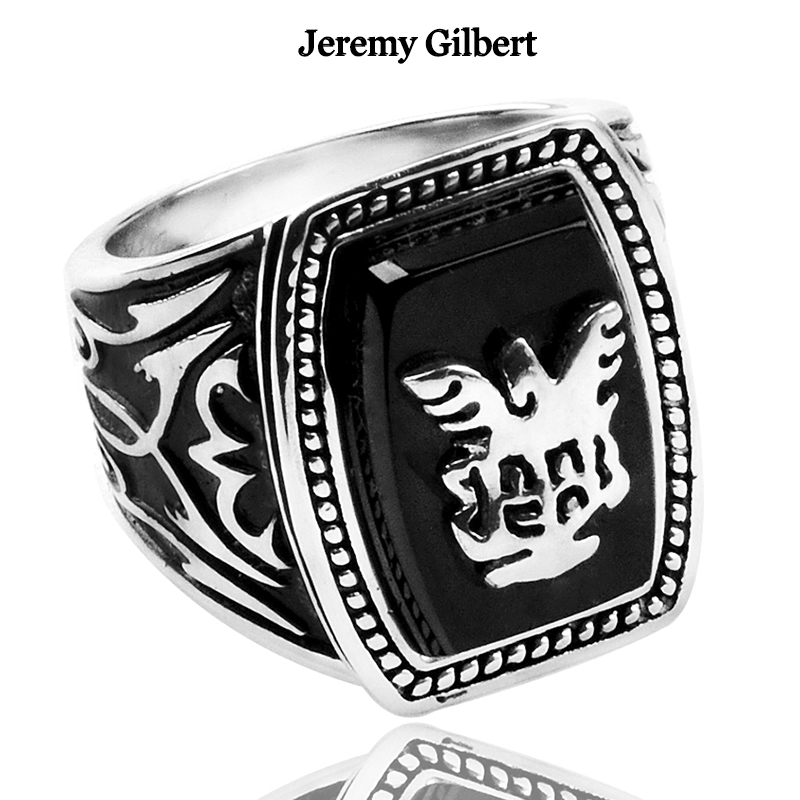 TVD Alaric Ric Ring Black The Vampire Diaries Jeremys Gilberts Revival Rings 925 Silver Movie Cos Punk Jewelry Men Gift TVD Alaric Ric Ring Black The Vampire Diaries Jeremys Gilberts Revival Rings 925 Silver Movie Cos Punk Jewelry Men Gift