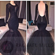 Arabic Black Mermaid Evening Dresses 2019 robe de soiree Sexy Backless Long Sleeve Formal Women Dress Party Gowns sexy see through long sleeve handmade rose flower evening dresses for pregnant women ruffles long party arabic robe de soiree