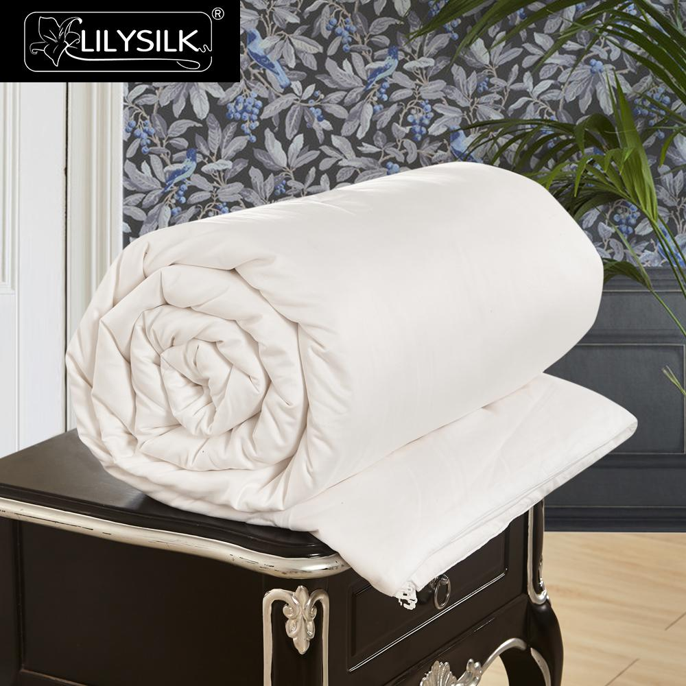 Lilysilk All Season Cotton Covered Silk Comforter 100 pure and natural long strand silk floss Free