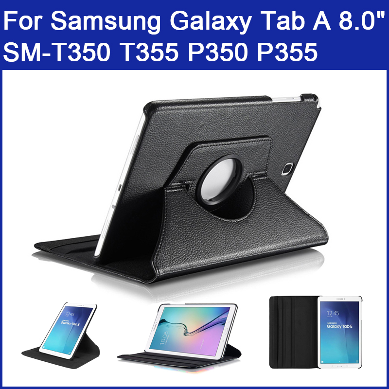 360 Rotating Case For Samsung Galaxy Tab A 8.0inch (2015) SM-T350 T355 P350 P355 Quality PU Leather Stand flip Smart Cover Funda