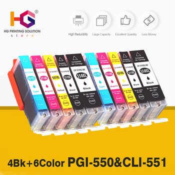 10 pcs Compatibile 550 551 XL Cartuccia di Inchiostro di Ricambio per Canon PGI-550XL PGI550 PGI 550 CLI551 per PIXMA IP7250 MG5450