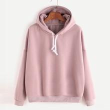 Women Hooded Pullover Long Sleeve Coat Shirt Solid Color Sli