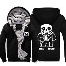 Undertale Sans Papyrus Skull Brother Thick Fleece Mens Outwear Large Size Cotton Hoodie Coat Jacket Parkas Warm