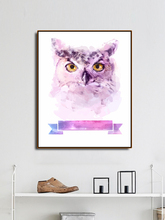 Laeacco Watercolor Owl Decoration Canvas Painting Calligraphy Pictures For Living Room Bedroom Artwork Modern Home Wall No Frame