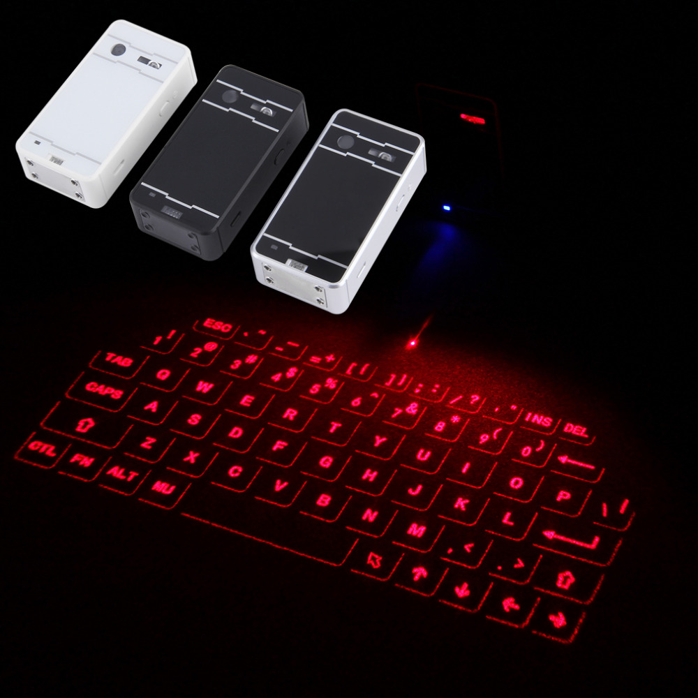 US $39 99  White Wireless Bluetooth Laser Virtual Projection keyboard for  iPhone iPad Tablet Laptop Android Smart Phone-in Keyboards from Computer &