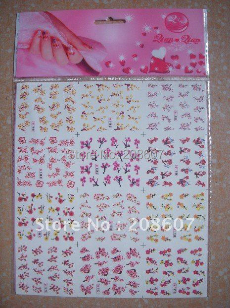Freeshipping Nail Art Sticker 2D Water Decal 20pcs/lot  Multicolor Manicure Sticker